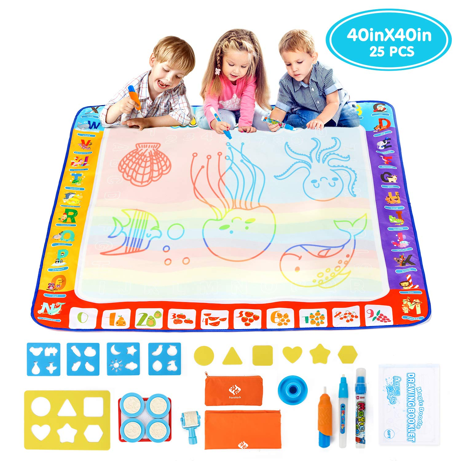 Fansteck Water Drawing Mat 40x40 inch, Large Water Doodle Mat with Storage Bag, Aqua Magic Doodle Mat with 24 Accessories, Educational Toys and Idea Gifts for Boys, Girls Age of 3 4 5 6 7 8