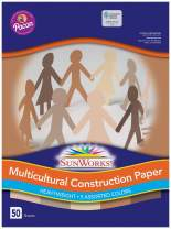 """SunWorks 9509 Multicultural Construction Paper, 9"""" x 12"""", 5 Assorted Colors, 50 Sheets"""