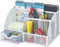 Bonsaii Steel Mesh Desk Organizer, 6 Divided Compartments with 1 Slide Drawer, Black(W6348)