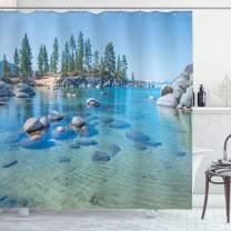"""Ambesonne Landscape Shower Curtain, Lake Landscape with Trees and Rocks Forces of The Universe Earth Art Print, Cloth Fabric Bathroom Decor Set with Hooks, 75"""" Long, Blue Grey"""