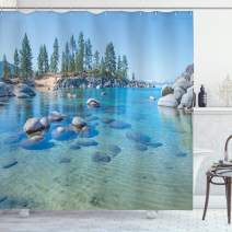 "Ambesonne Landscape Shower Curtain, Lake Landscape with Trees and Rocks Forces of The Universe Earth Art Print, Cloth Fabric Bathroom Decor Set with Hooks, 75"" Long, Blue Grey"