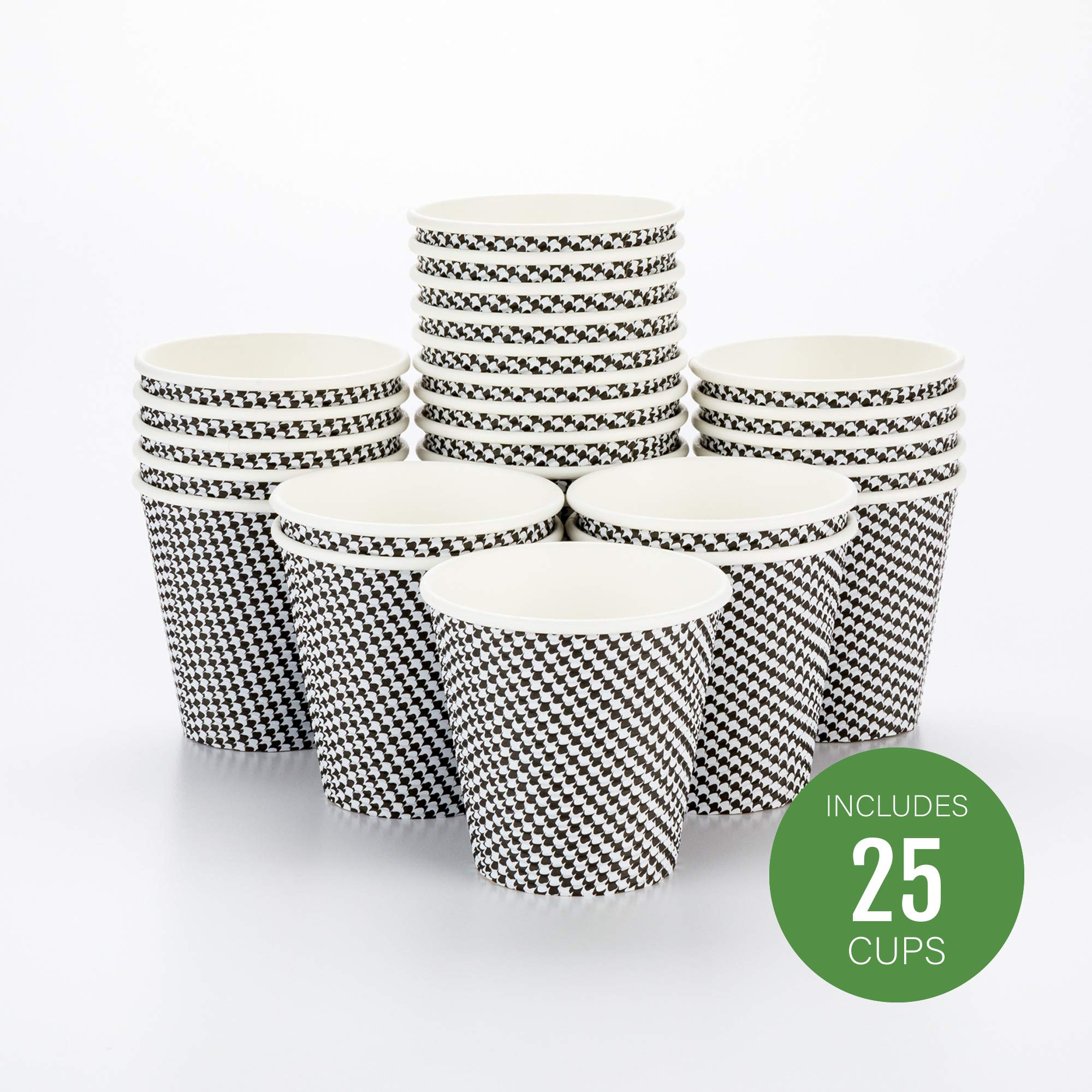 "8 oz Houndstooth Paper Coffee Cup - Spiral Wall - 3 1/2"" x 3 1/2"" x 3 1/4"" - 25 count box - Restaurantware"