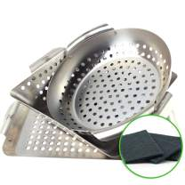 Yukon Glory 3-Piece Mini BBQ Grill Accessories Basket Set, for Grilling Vegetables, Chicken Pieces, Fish, Includes Cleaning Pads