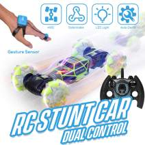 GoolRC RC Stunt Car 4WD Watch Gesture Sensor Control Deformable Electric Car All-Terrain Transformable Car Auto-Demo for Kids w/ LED Light Music 3 Battery