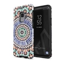 BURGA Phone Case Compatible with Samsung Galaxy S9 - Pastel Illusion Moroccan Marrakesh Tile Pattern Colorful Mosaic Heavy Duty Shockproof Dual Layer Hard Shell + Silicone Protective Cover