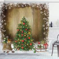 """Ambesonne Christmas Shower Curtain, Cloth Fabric Bathroom Decor Set with Hooks, Boxes Snowy Board, 70"""" Long"""