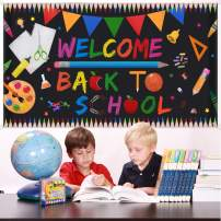 "Welcome Back To School Banner - Extra Large Fabric 70"" X 40"" - First Day Of School Backdrop Banner - Welcome Back To School Party Decorations Supplies - Classroom Office School Photo Backdrop Decor"
