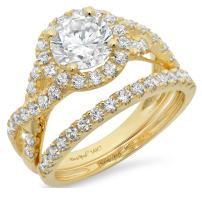 Clara Pucci 2.20 CT Round Cut CZ Pave Halo Designer Solitaire Ring Band Set 14k Yellow Gold