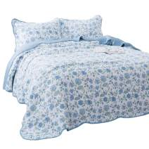 KASENTEX 3 Piece Quilt Set - Contemporary Oversized Bedding with Country-Chic Floral Printed Design, 100% Cotton Soft & Warm Reversible Bedspread (Blue, King + 2 King Shams 112x106+20x36 x2)