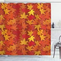 "Ambesonne Orange Shower Curtain, Colorful Autumn Fall Season Maple Leaves in Unusual Designs Nature Print, Cloth Fabric Bathroom Decor Set with Hooks, 84"" Long Extra, Burnt Orange"