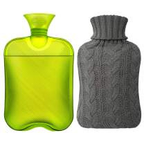Samply Hot Water Bottle- 2 Liter Water Bag with Knitted Cover, Transparent Green