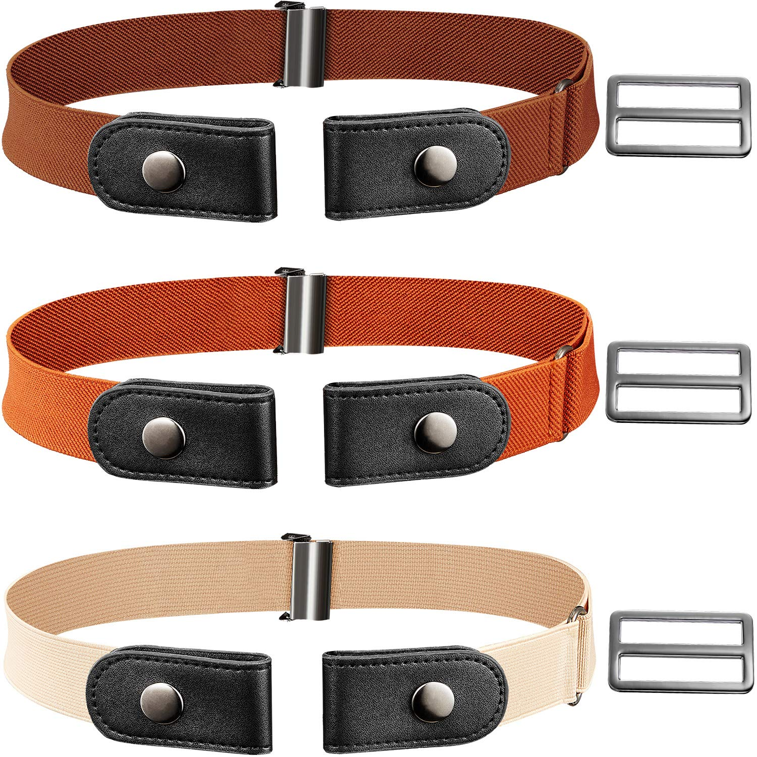 3 Piece No Buckle Stretch Belt Buckle-free Adjustable Belt with 3 Piece Buckle for Jeans