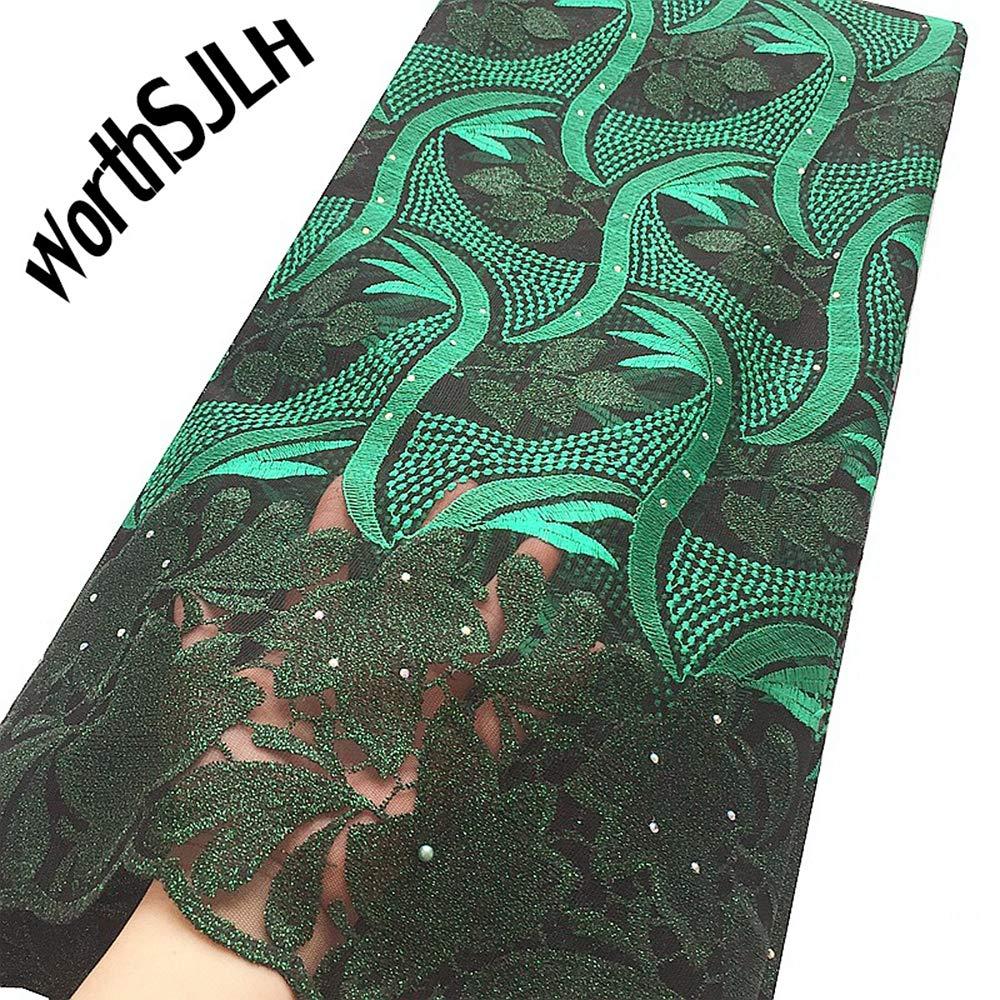 WorthSJLH African Lace Fabric 2019 Cord Nigerian Lace Fabric Wedding French Tulle Net Lace Fabric for Dresses J842 (Green)