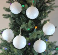 Sleetly Christmas Ornaments, White Snowball, 3.15 inch, Set of 12