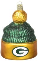 Old World Christmas Green Bay Packers Glass Blown Ornaments for Christmas Tree Beanie