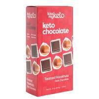 Kiss My Keto Chocolate — Low Carb 100% Sugar Free Chocolate Bars | Toasted Hazelnut, 4 Bars | Keto Dark Chocolate | No Soluble Corn Fiber, Stevia Sweetened, Infused with MCT Oils