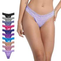 GAREDOB Pack Of 10 Sexy Womens Lace Thongs Underwear, Assorted Different Lace Pattern & Colors