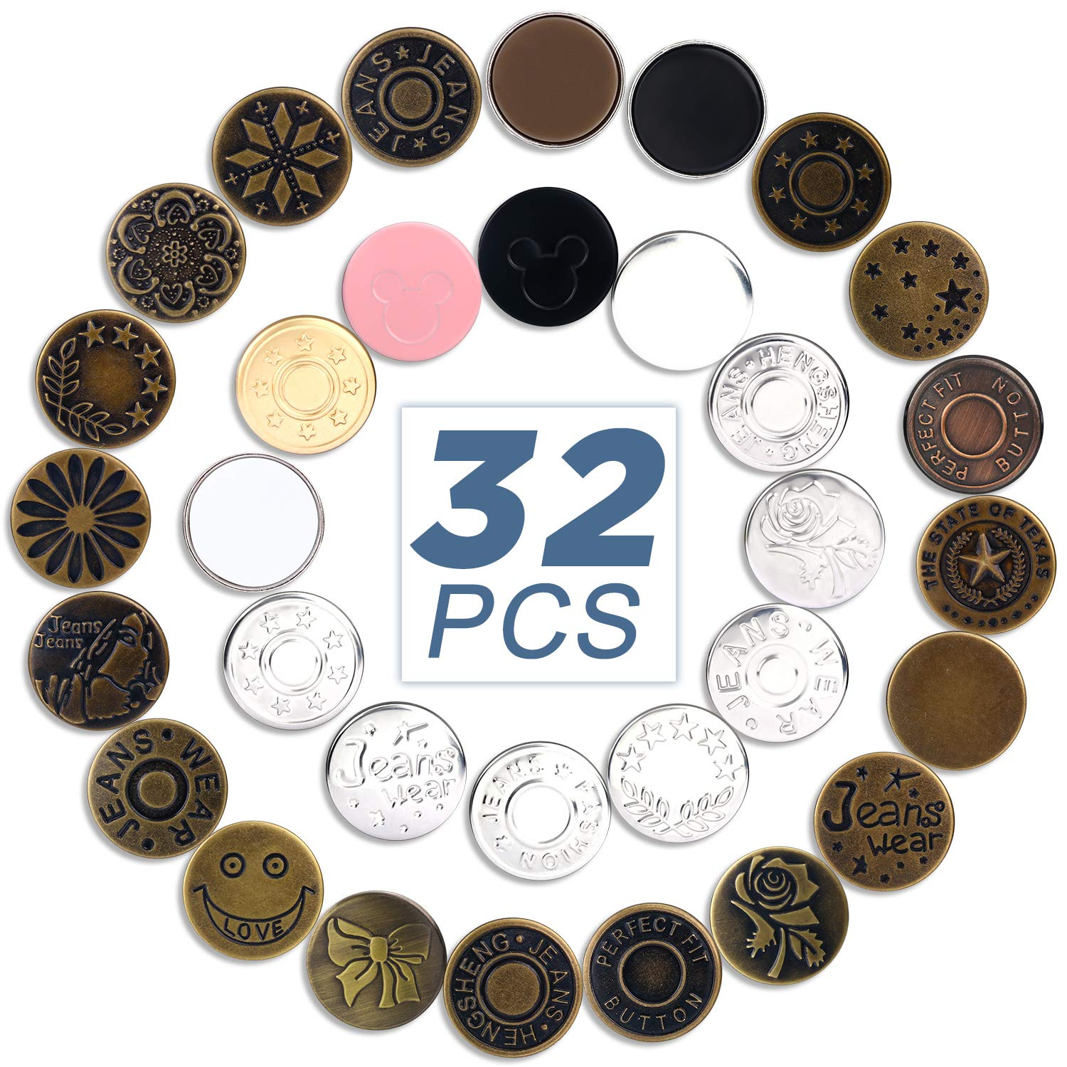 32 PCS Button Pins, No Sew Adjustable Jeans Button, Replacement Instant Button for Pants Jeans Sewing DIY Crafts