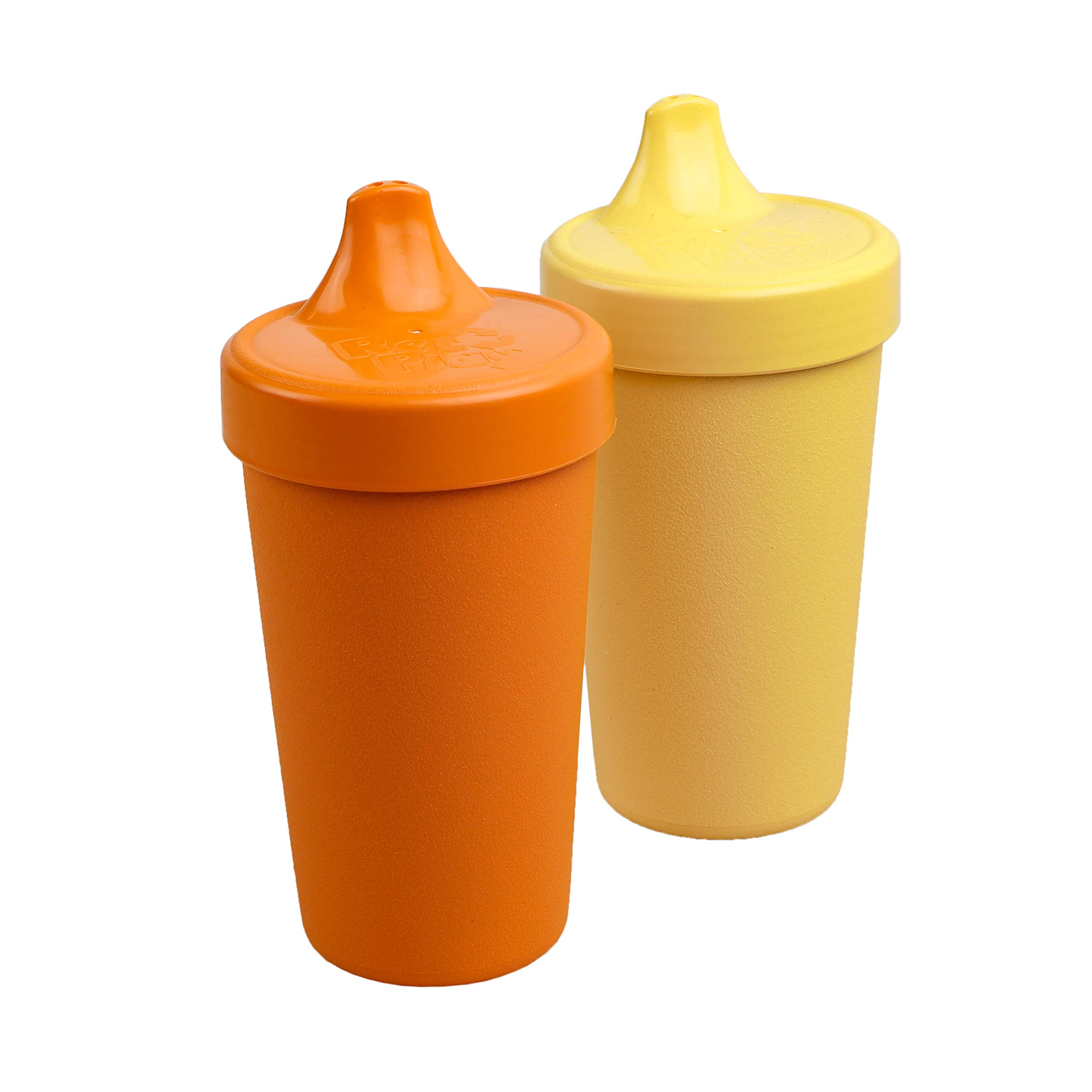 Re-Play Made in USA 2pk Toddler Feeding No Spill Sippy Cups | 1 Piece Silicone Easy Clean Valve | Eco Friendly Heavyweight Recycled Milk Jugs are Virtually Indestructible | Orange, Yellow