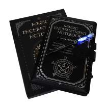 Monet Studios Magic Composition Notebook Notepad with Color Light Pen - Novelty Gothic Spell Book with Magical Runes Stationery Set (Black)