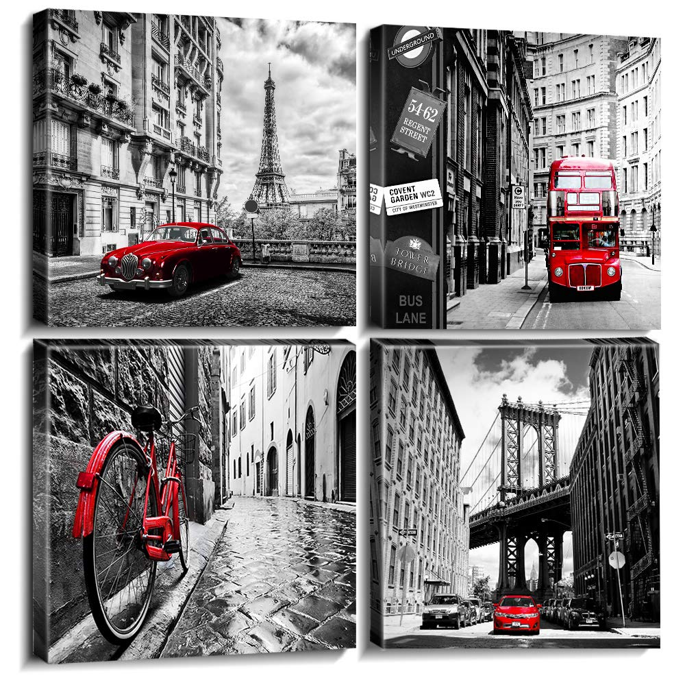 Sunfrower Black and White City Wall Art Decor Canvas Print Eiffel Tower Broooklyn Bridge Poster Artwork Framed Modern Landscape Picture Painting Red Car Bike Bus Home Decoration 20 X 20 Inch 4 Pcs