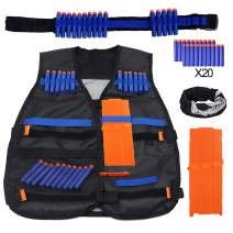 DILIMI Tactical Vest Kit for Nerf N-Strike Elite Series Blasters with 20pcs Darts +12-Darts Quick Reload Clip + Adjustable Darts Bullet-Belts(Gun Not Included)