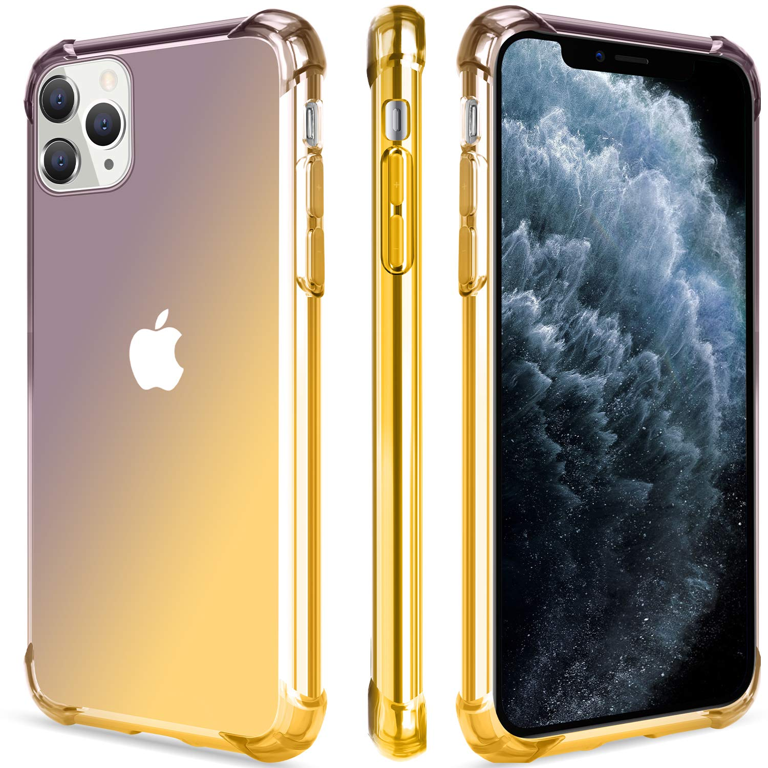 Salawat for iPhone 11 Pro Max Case, Clear Cute Gradient iPhone 11 Pro Max Phone Case Slim Thin Anti Scratch TPU Cover Shockproof Protective Case for iPhone 11 Pro Max 6.5 Inch 2019 (Black Gold)