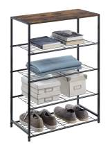 HOMEFORT 5-Tier Metal Shoe Rack, All-Metal Shoe Tower, Shoe Storage Shelf with MDF Top Board, Each Tier Fits 3 Pairs of Shoes, Entryway Shoes Organizer with Sturdy Metal Shelves in Rustic Brown