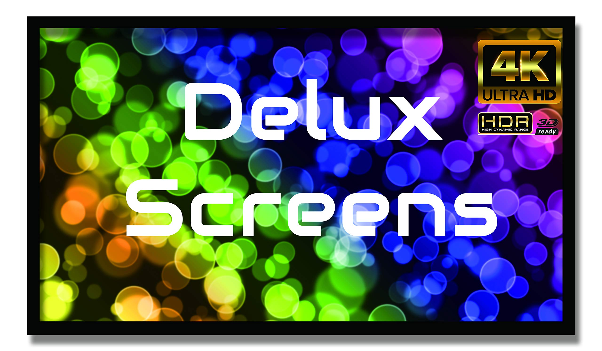 """Delux Screens (US Based Business) 135 inch 4K/8K Ultra HDR Projector Screen - Active 3D Ready - 6 Piece Fixed Frame - Home Theater Movie Projection Screen - PVC Matte White - Velvet Border 135"""" 16:9"""