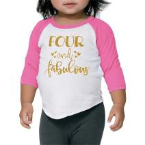 Girl Fourth Birthday Outfit Fourth Birthday Shirt Four and Fabulous Outfit