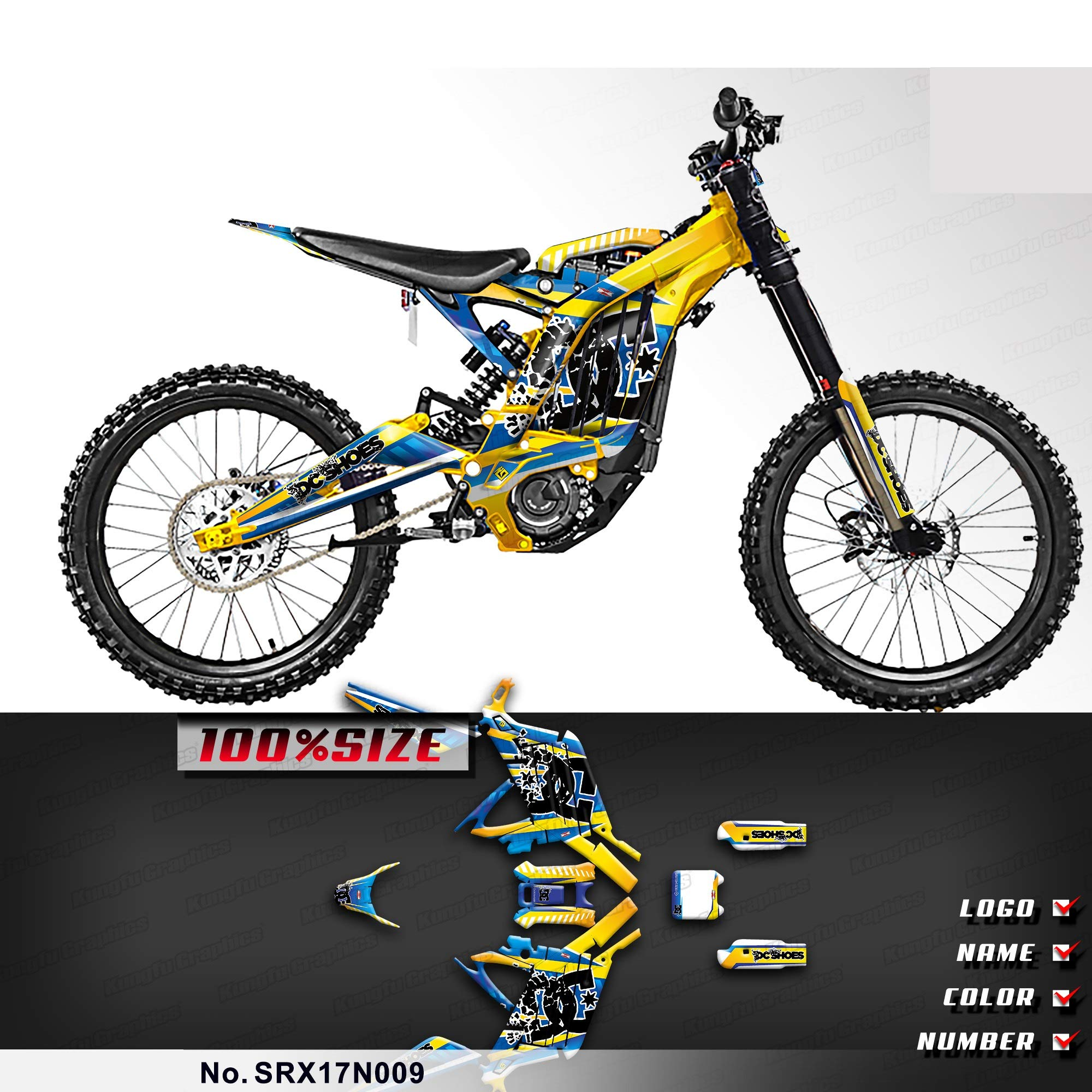 Kungfu Graphics Custom Decal Kit for Sur-Ron Light Bee X Electric Off-Road Motorcycle Dirt Bike, Yellow Blue, SRX17N009