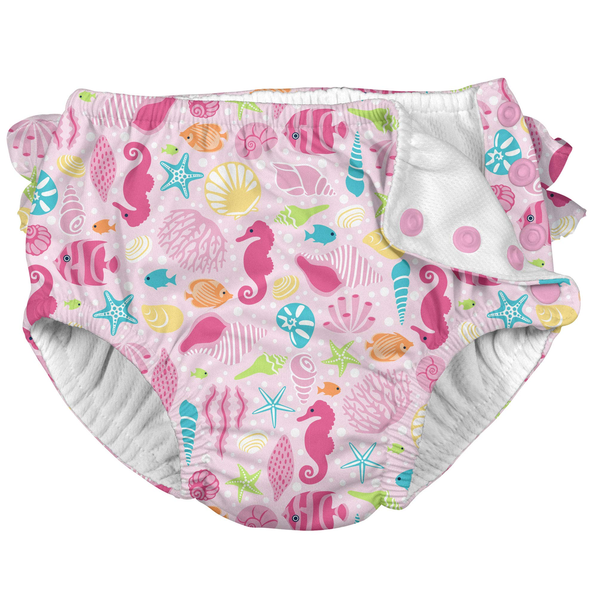 i Play Girls Reusable Absorbent Toddler Swim Diapers - Swimming Suit Bottom | No Other Diaper Necessary Pink Sea Life 3T