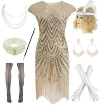 1920s Plus Flapper Gatsby Sequin Scalloped Cocktail Dress w/ 20s Accessories Set