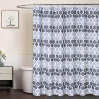CAROMIO Grey Fabric Shower Curtain, Moroccan Geometric Ogee Patterned Modern Fabric Shower Curtain for Bathroom, 72 x 72, Grey/Silver