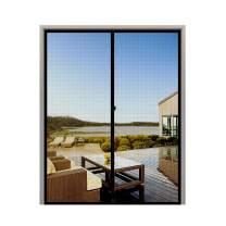 """MAGZO Screen Door Magnets 62 x 87, Durable Fiberglass Door Mesh with Full Frame Hook&Loop for Large Door Fits Door Size up to 62""""x87"""" Max-Black"""