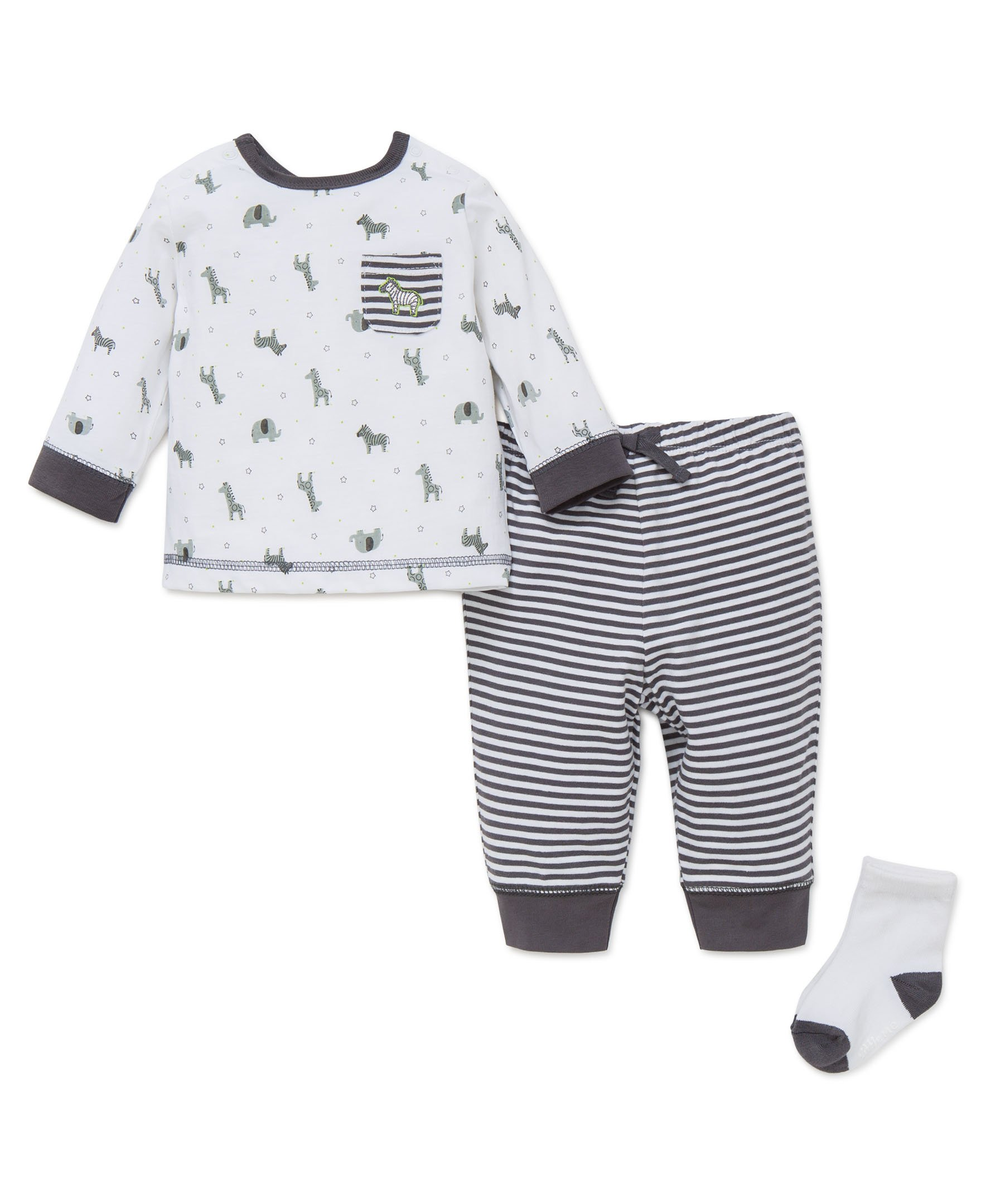 Little Me Baby Boys' 3 Piece Jogger Pant Set with Socks