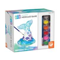 MindWare Paint Your Own Porcelain: Mermaid Tail Bank with Rubber Stopper, 12 Paints & 1 Brush - Creative paintable Pottery Crafts & Gift Kits for Kids