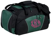 Personalized Monogrammed Gym Duffel Bag with Custom Text | Metro Travel Bag with Customizable Embroidered Monogram Design (Hunter)