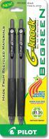 PILOT G-Knock BeGreen Refillable & Retractable Gel Ink Pens, Fine Point, Black Ink, 2-Pack (31500)
