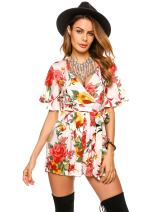 Meaneor Women's Chiffon Floral Printed Deep V Neck Romper Jumpsuit