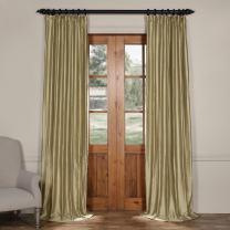 HPD Half Price Drapes CTSK-161003-84 Cotton Silk Curtain (1 Panel), 50 X 84, Stardust Silver
