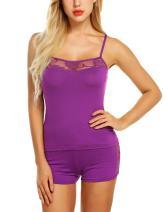 Chomoleza Women Sleepwear Lace Pajamas Shorts Set Sexy Pjs Sets Nightwear Camisole Short Sets