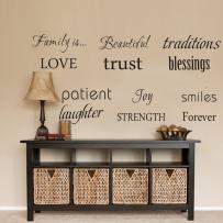 LUCKKYY Family Wall Decal~ Set of 12 Family Words Quote Vinyl Family Wall Decal Family Room Art Decoration Living Room Decor Decoration for Home Decor (Black)