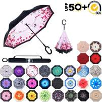ABCCANOPY Inverted Umbrella,Double Layer Reverse Rain&Wind Teflon Repellent Umbrella for Car and Outdoor Use, Windproof UPF 50+ Big Straight Umbrella with C-Shaped Handle,pink butterflies