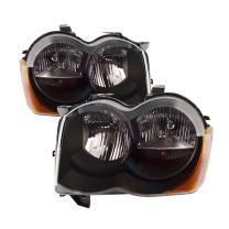 PERDE Compatible with Jeep Grand Cherokee Black Halogen Headlights Set