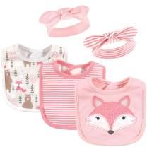 Hudson Baby Baby Girls' Cotton Bib and Headband Set