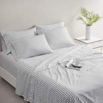 """Comfort Spaces Microfiber Bed Sheets Set 14"""" Deep Pocket, Wrinkle Resistant, All Around Elastic - Year-Round Cozy Bedding Sheet, Matching Pillow Cases, Twin XL, Grey Stripe 4 Piece"""