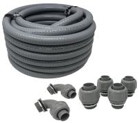 """Sealproof Non-metallic Liquid-Tight Conduit and Connector Kit, 1-Inch 25 Foot Flexible Electrical Conduit Type B with 4 Straight and 2 90-Degree Conduit Connector Fittings, 1"""" Dia"""