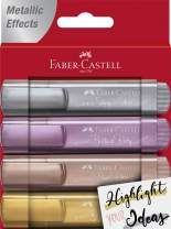Faber-Castell Metallic Highlighters – 4 Glitter Highlighter Pens for Journaling and Note Taking - Study Supplies