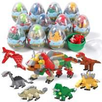 12 Dinosaur Eggs with Dinosaur Building Blocks Toys Kit Perfect for Mini Animal Dinosaur Party Favors Supplies Educational STEM Activities for Kids